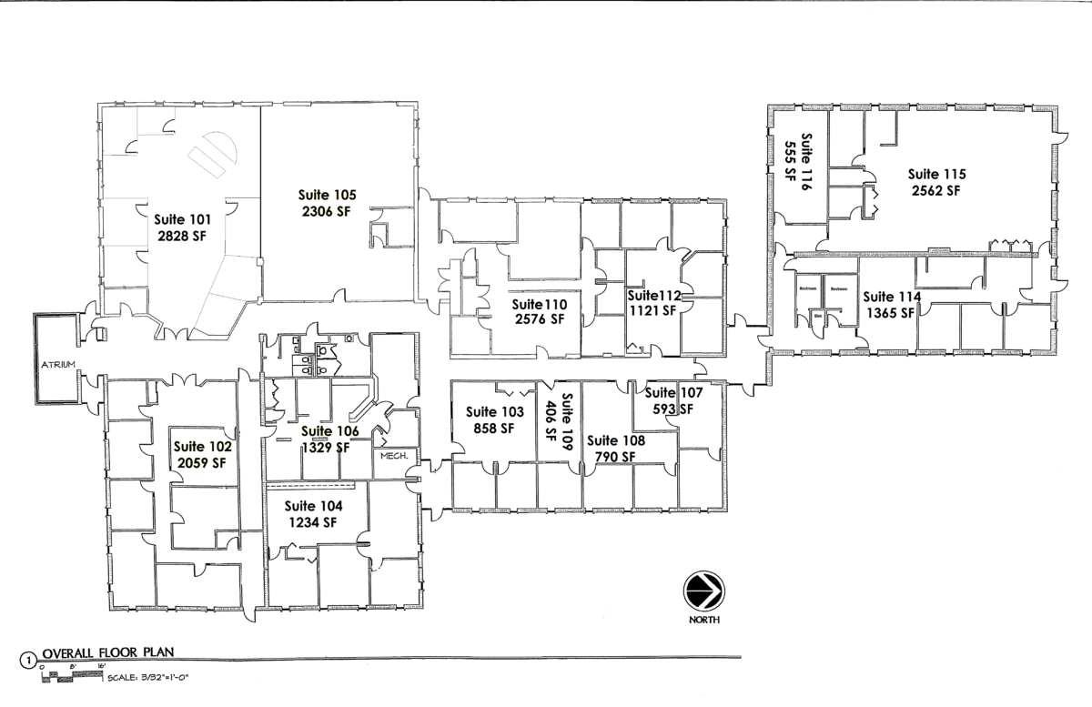 Available spaces assessment site selection property for Blank floor plan